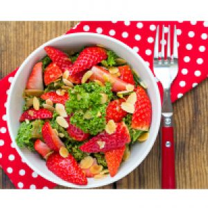 Kale Salad with Quinoa and Strawberries